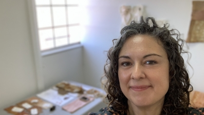 "Textiles connect place, people, community, history and identity for Emma Peters. ""Making work is my approach to learning,"" she says. Emma Peters in her studio space. Photo: Emma Peters"