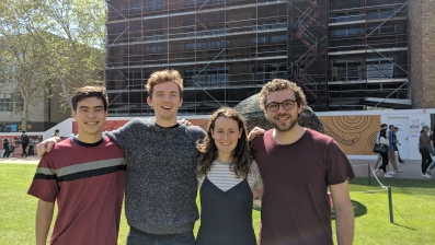 The team behind Snack, which took out three Peter Farrell Cup prizes: (left to right) Hugh Chan (Engineering), Jake Fitzgerald (Engineering), Clementine Rocks (Art & Design) and Hamish Elliot (Engineering).