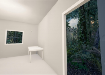 A room looking out onto a lush forest, one of the virtual landscapes in the mixed-reality experience, The Edge of the Present. Photo: Alex Davies