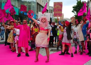 Extinction rebellion protest against fast fashion