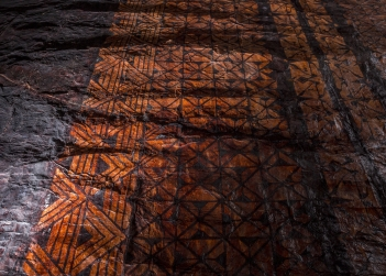 Lototō1 2016 (detail). Earth pigments, natural dyes and tuitui (Candlenut soot) on ngatu (barkcloth). Image courtesy - the artist. Photograph - Arnaud Elissalde