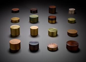 Vessels for Wayfaring (2019-2020), by Zoe Veness. Recycled brass, copper and sterling silver with various finishes. Average dimensions: 6.5 x 6.5 x 6.0 cm. Photo: Peter Whyte Photography