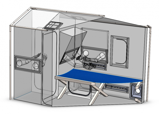 A diagram of the design of the Care Cube airborne infection isolation tent