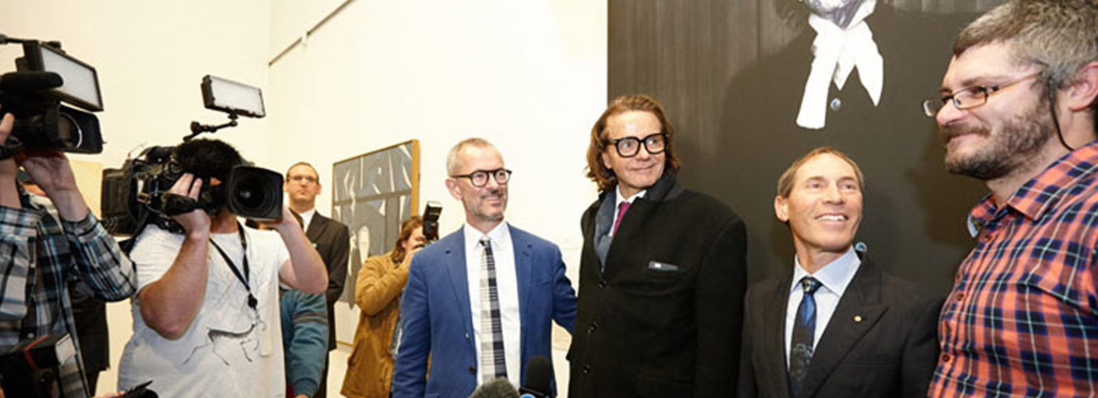 Archibald Prize 2015 winner announcement. Left to right: Art Gallery of NSW director Michael Brand, portrait subject Charles Waterstreet, president of the board of trustees Guido Belgiorno-Nettis and artist Nigel Milsom