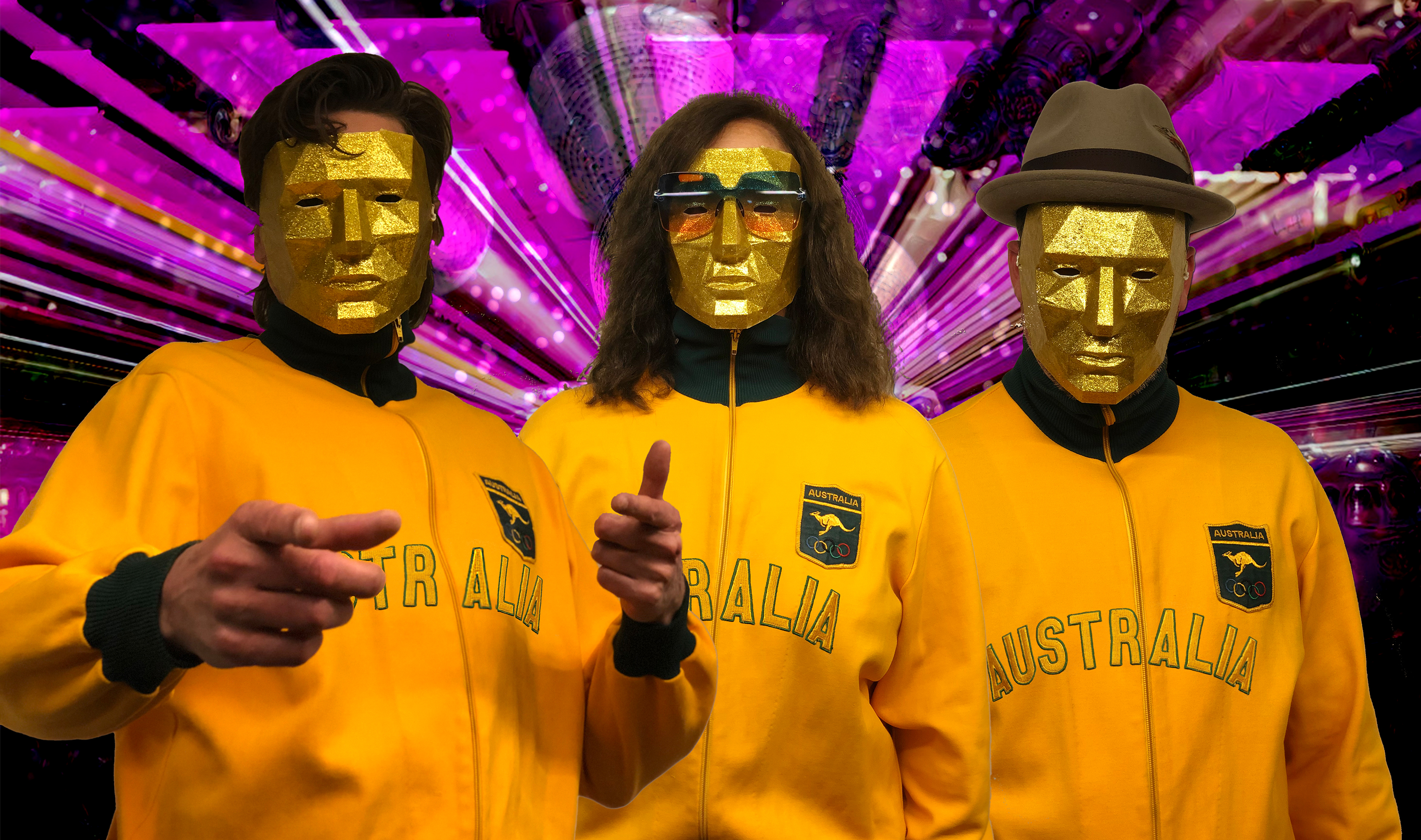 Team Australia all geared up for the AI Song Contest in their 3D-printed masks and Australian Swim Team tracksuit dating back to the 1972 Munich Olympic Games. Photo: Uncanny Valley