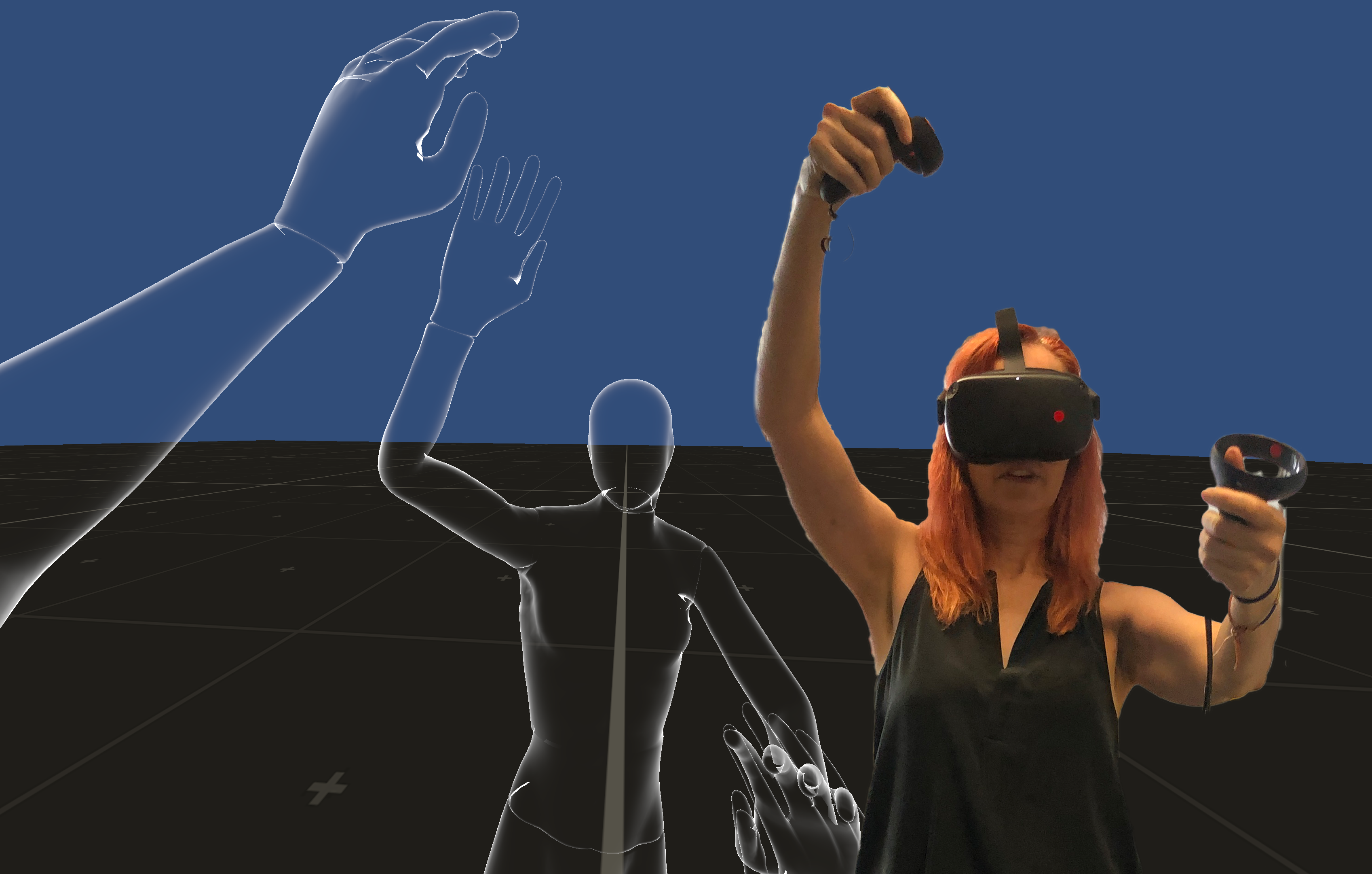Body mapping session in Virtual Reality using EmbodiMap developed by UNSW fEEL Lab Scientia Professor Jill Bennett and lead immersive media designer Volker Kuchelmeister. Image: Jill Bennett
