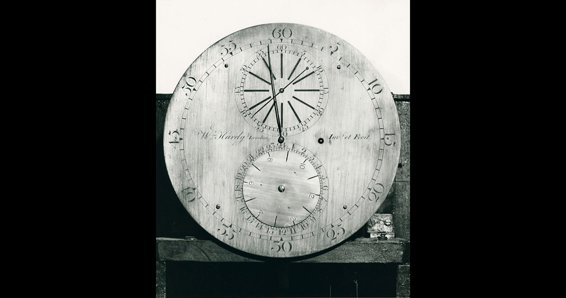 Dr Lily Hibberd questions the notion of one universal time and the means used to lay claim to land in colonial Sydney in her project Boundless – out of time. Dial of a Hardy sidereal clock, silver gelatin print. Photo: Sydney Observatory 1979, photographe