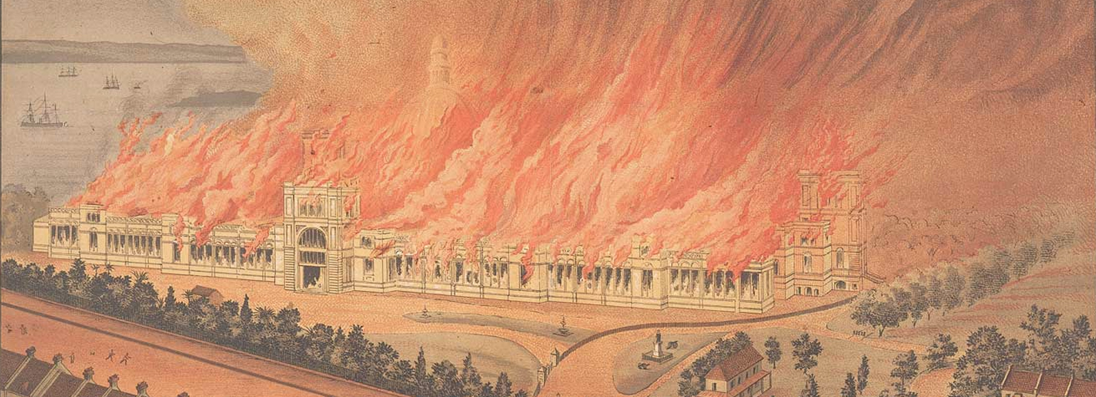 """""""Burning of the Garden Palace, Sydney,"""" by Gibbs Shallard & Company, 1882. Archival news clipping. Courtesy Museum of Applied Arts and Sciences Collection, Sydney."""