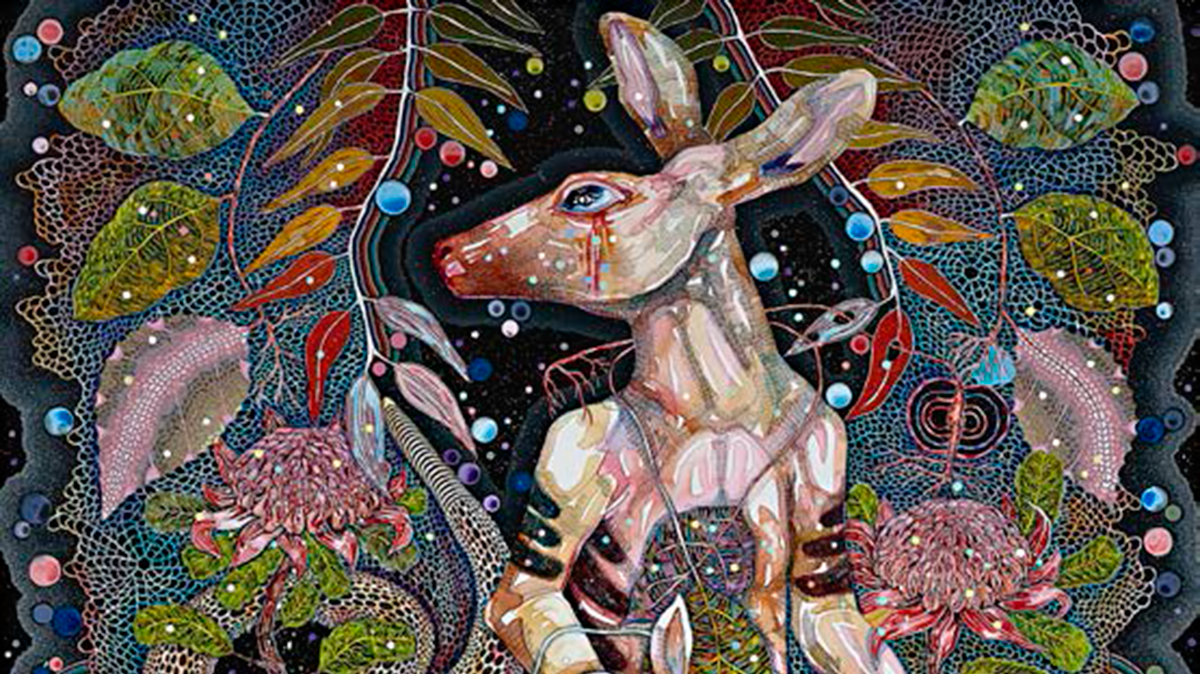 Del Kathryn Barton, We will ride (detail), 2014, acrylic on French linen, 200 x 240cm,  Collection of the artist, Sydney Copyright Del Kathryn Barton, courtesy of ARNDT Berlin Singapore and Roslyn Oxley 9 Gallery.