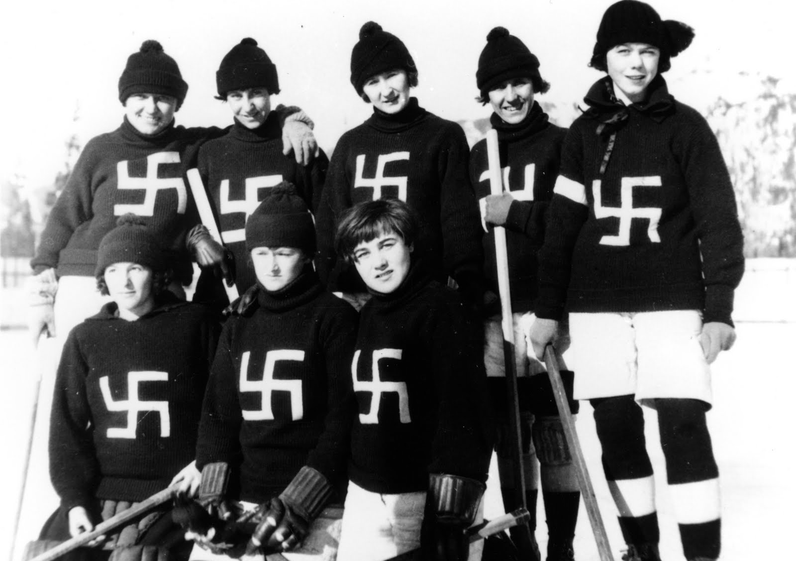 The Fernie Swastikas (c. 1922) wore red sweaters with a crooked cross in white, a symbol of good luck until perverted by the Nazis. Photo: Fernie and District Historical Society, no. 972