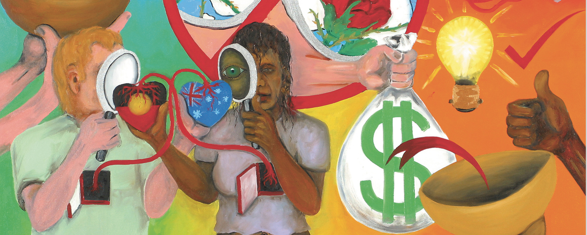 Gordon Hookey, You Can't Have Our Spirituality without Our Political Reality (2003), detail, oil on canvas, 101,5 × 122 cm
