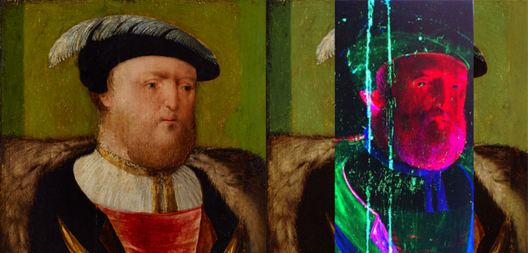 Anglo-Netherlandish workshop King Henry VIII c1535–c1540 (left) and with insert of false colour synchrotron-sourced X-ray fluorescence data map (right), Art Gallery of New South Wales