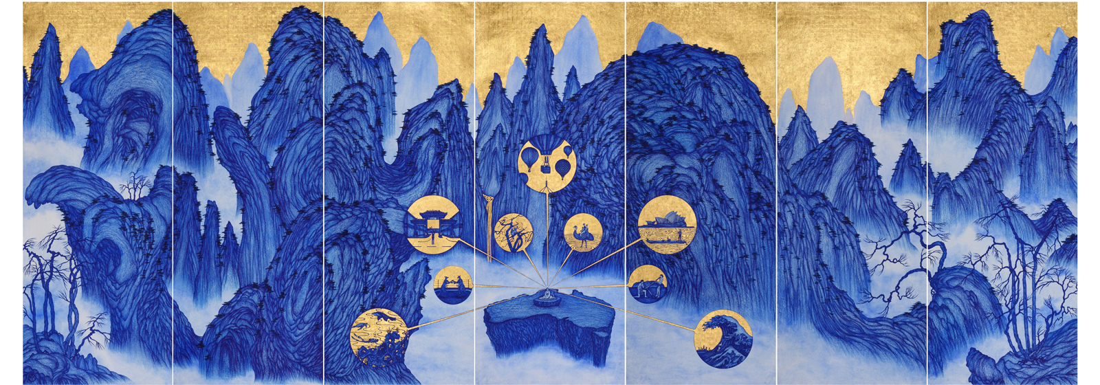 YAO Jui-chung, Yao's Journey to Australia, 2015, biro, oil pen with gold leaf on Indian handmade paper, 200x546x6cm. Courtesy of the artist and Tina Keng Gallery.