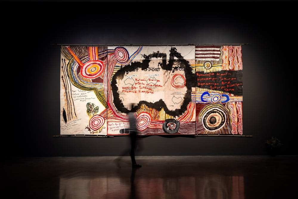 Installation view of the National at MCA featuring Mike Williams' Kamantaku Tjukurpa wiya (The Government doesn't have Tjukurpa). Jacquie Manning