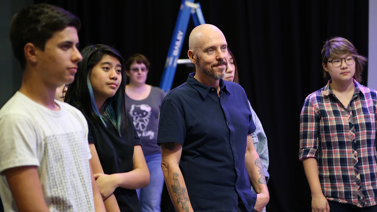 Lecturer and animator, Steve Weymouth, observes The Franklin Method class. Photo: Leilah Schubert