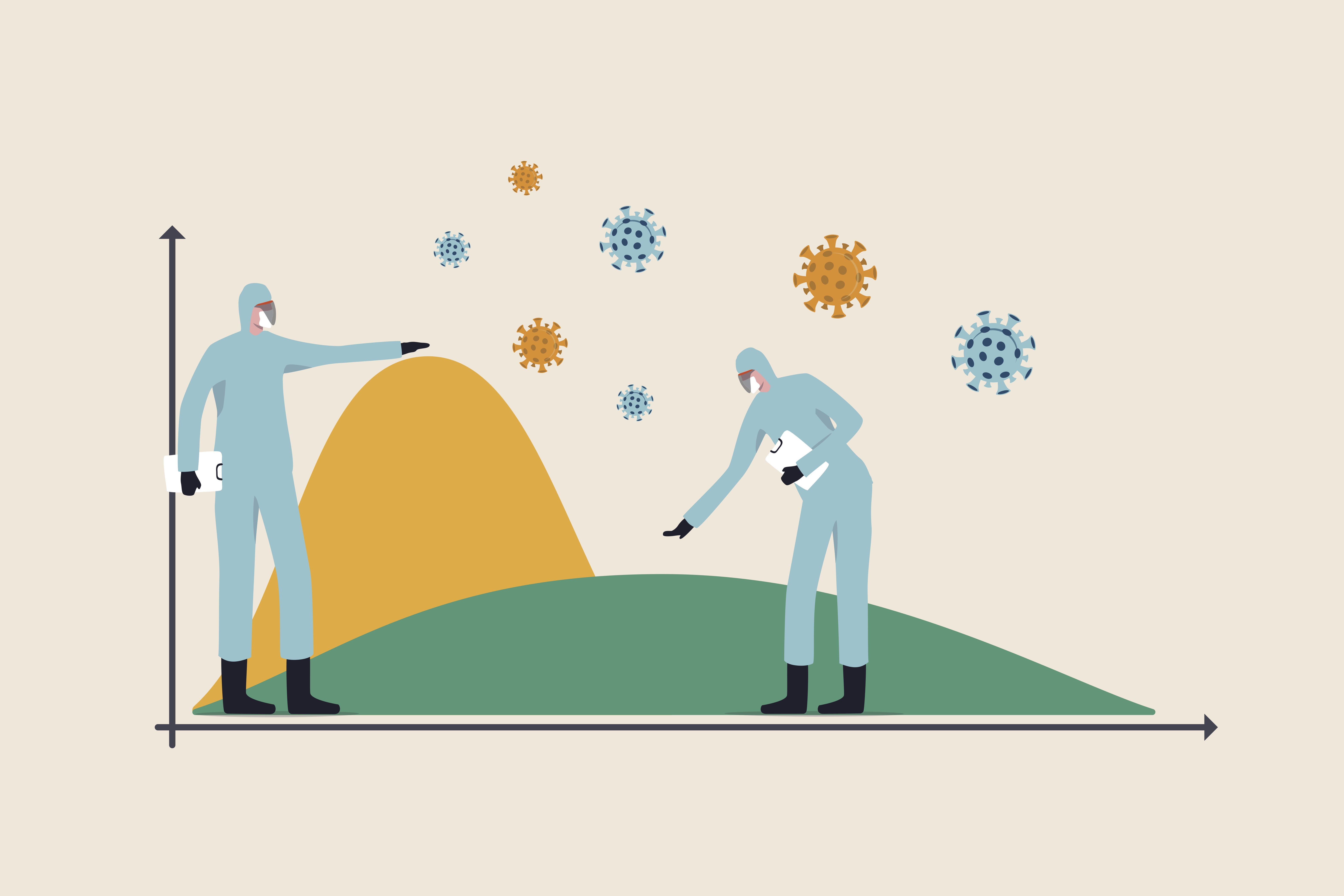 An infographic showing medical workers working to flatten the curve to slow COVID-19 infection. Image: Shutterstock