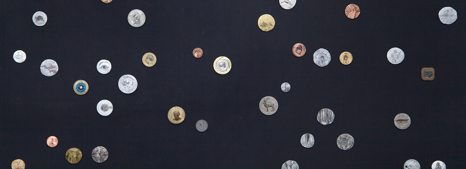 Ni Youyu, Galaxy, 2012-2015, installation detail, acrylic on metal coins, 1.6-3.7 each, overall size variable