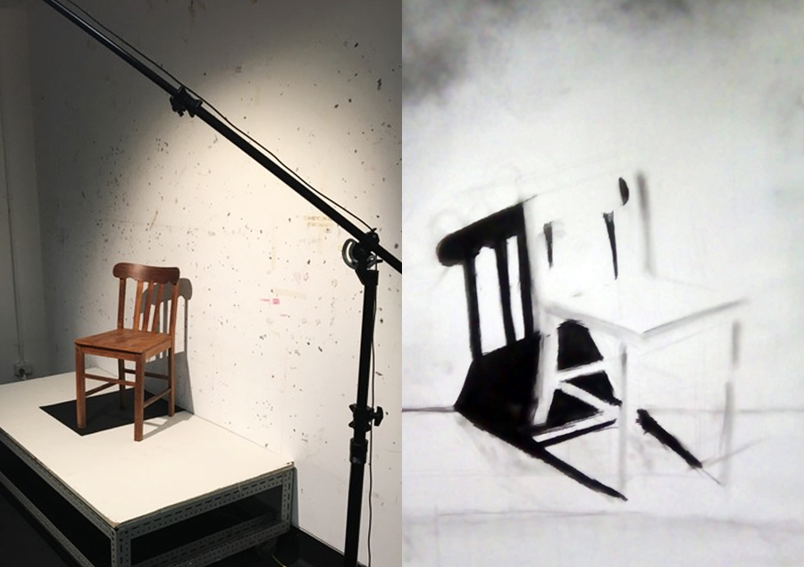 A chair in the drawing studio, left, and PhD student Irene Fernandez's drawing of the chair. Images: Paul Thomas, Irene Fernandez